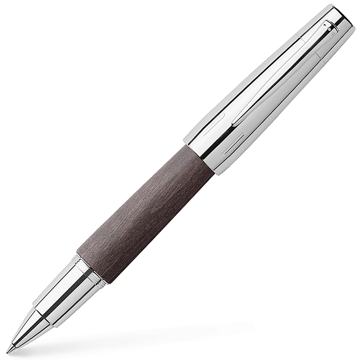 148225 - Black pear wood & chrome rollerball 'E-Motion' pen by Faber-Castell