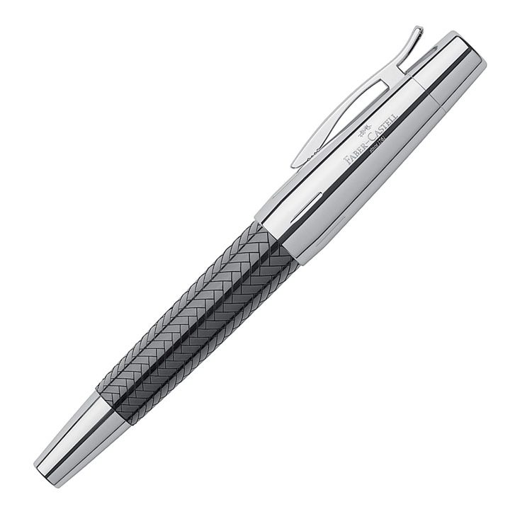 E-Motion rollerball (parquet pattern) in black, by Faber-Castell