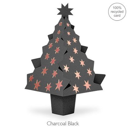 Charcoal Black pop-up Christmas Tree card