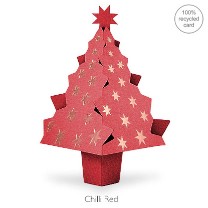 Chilli red pop-up Christmas Tree card