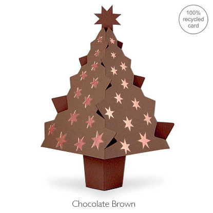 Chocolate Brown pop-up Christmas Tree card