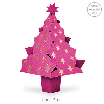 Coral Pink pop-up Christmas Tree card