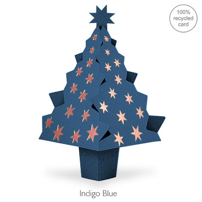 Indigo Blue pop-up Christmas Tree card
