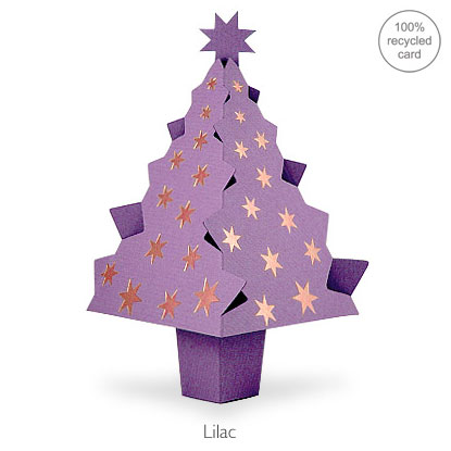 Lilac pop-up Christmas Tree card