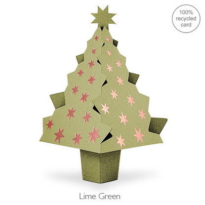 Lime Green pop-up Christmas Tree card