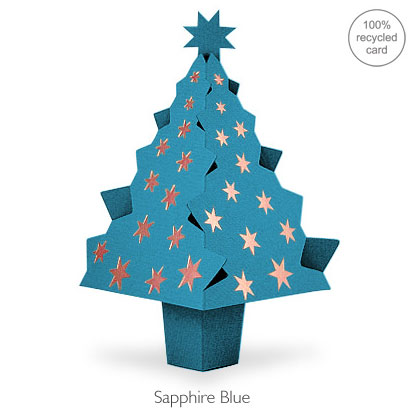 Sapphire Blue pop-up Christmas Tree card