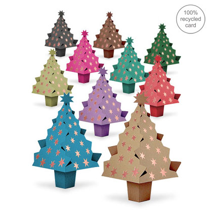 Pop-up Christmas Tree cards - mixed colours